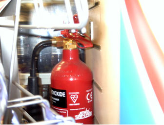 Fire extinguishers need to be easily accessible.  Seconds count in a fire!
