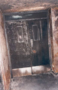 Imagine how far this fire could have spread with the fire doors propped open...... Fire doors only work when they are closed.